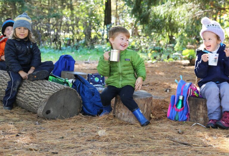 preschool students enjoy outdoor learning experience at The Nature School at Claireville