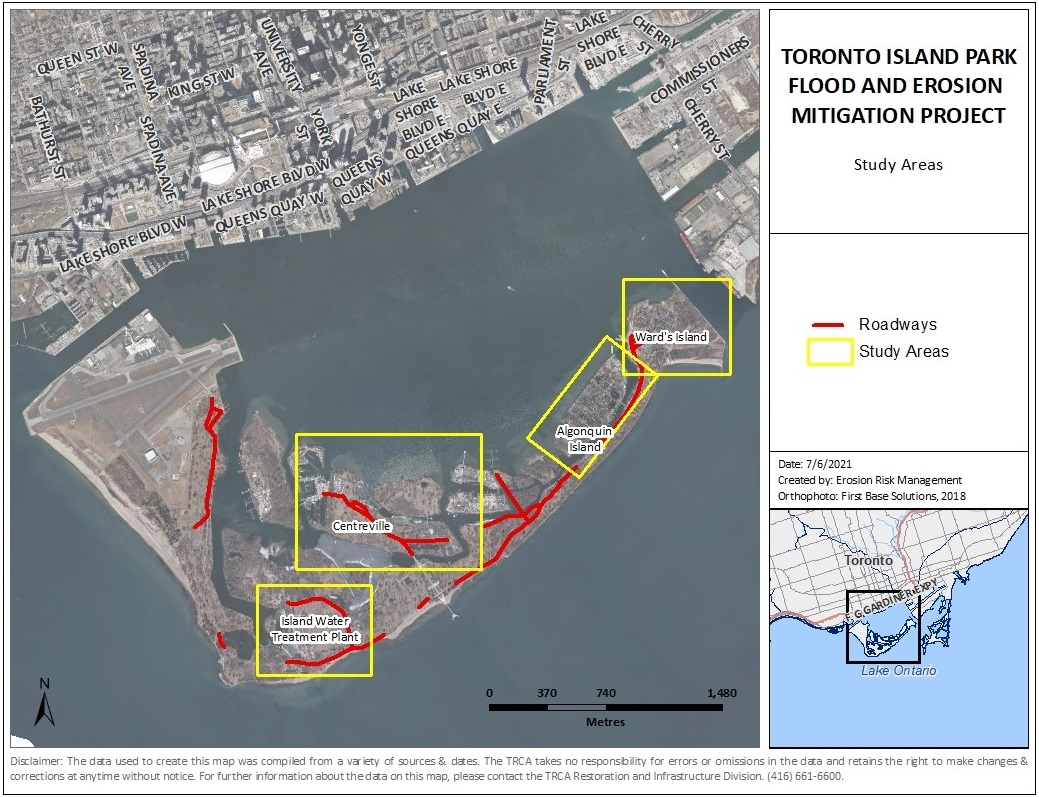 map of the Toronto Island Park Flood and Erosion Mitigation Project study area