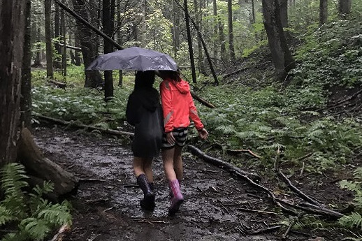 River Song program participants walk under umbrella through a forest in the rain at Claremont Nature Centre