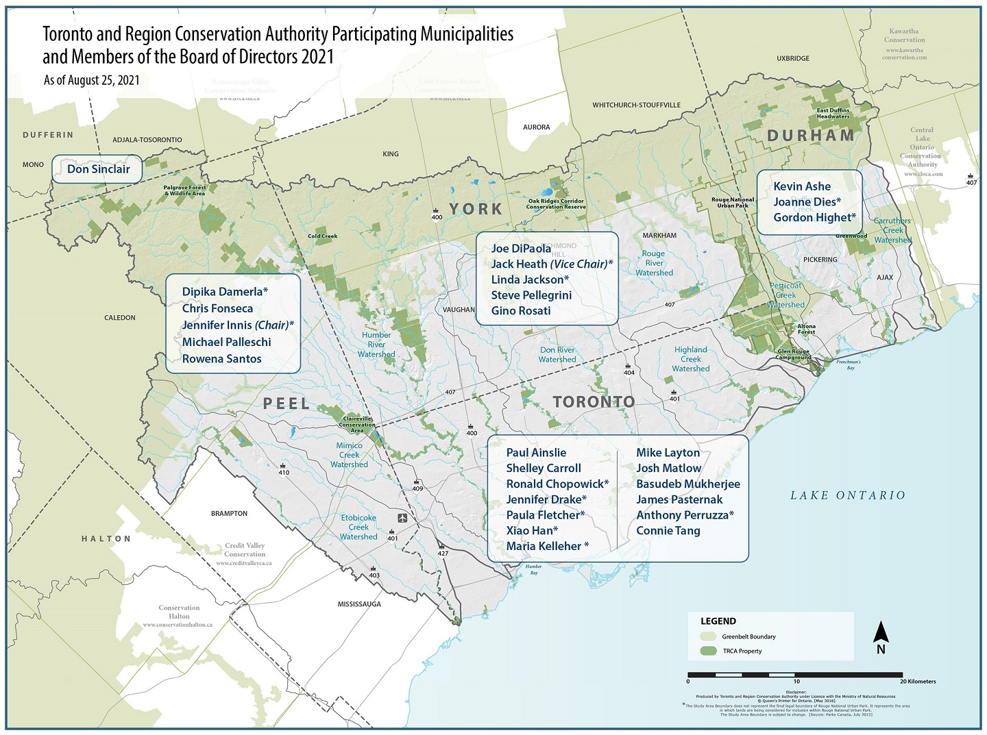 map displaying TRCA participating municipalities and board members by region